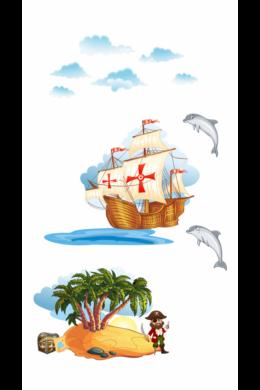 Kincses sziget kalózhajóval falmatrica csomag