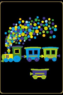 Vonat pöttyös füsttel falmatrica csomag