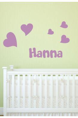 Név falmatrica szívekkel babaszobába