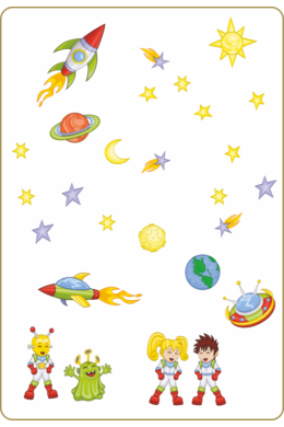 Űrhajós falmatrica - Kaland az űrben falmatrica csomag